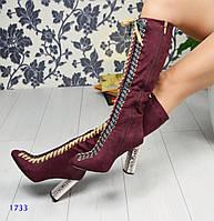 Женские высокие сапоги с крупной цветной передней шнуровкой на золотом рифленом каблуке,эко замша(велюр)