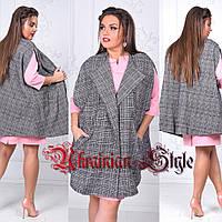Женское модное шерстяное пальто без рукавов.