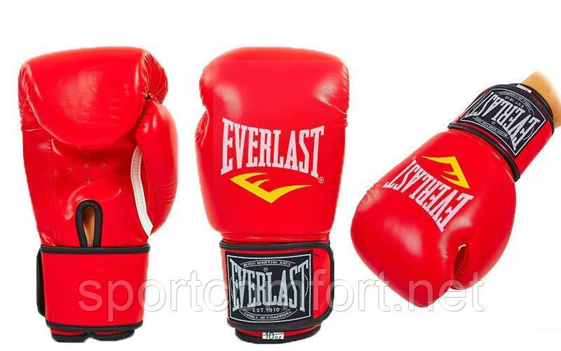 Боксерські рукавички Everlast Pu (поліуретан) 10 oz червоні репліка