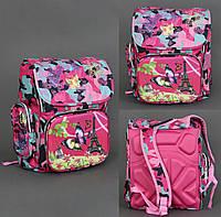 Рюкзак школьный Бабочка на Эйфелевой башне, 3 отделения, 2 кармана, 2 отделения внутри, ортопедическая спинка