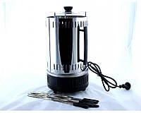 BBQ (электрошашлычница), 1000 Вт, приготовление 15мин, нержавеющая сталь, вместительность 10шампуров, вращение шампуров, шашлычница домашняя