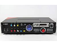 Усилитель мощности звука AMP 110, 300Вт, пульт ДУ, FM, SD/MMC, 2-х канальный, 2 х 150W, усилитель громкости звука
