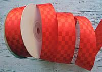 Стрічка атласна 25мм шахматка № 03 червона