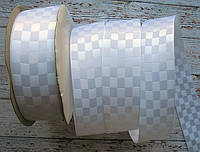 Стрічка атласна 25мм шахматка № 01 біла