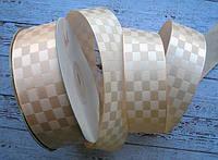 Стрічка атласна 25мм шахматка № 04 персикова