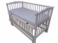 Детская кровать Labona МРИЯ № 4  на шарнирах,  с подшипником, откидная боковина, белая. Размер  60х120
