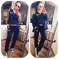 Женский спортивный костюм майка штаны накидка кофта синий 42-44 46-48 50-52