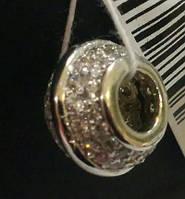 Серебряные Шармы, бусины Pandora, Стоппер для браслета  серебряный с вставками фианита