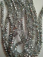 Бусины овал (Rondelle) 4 мм Half Silver. Цена за 1 шт, фото 1