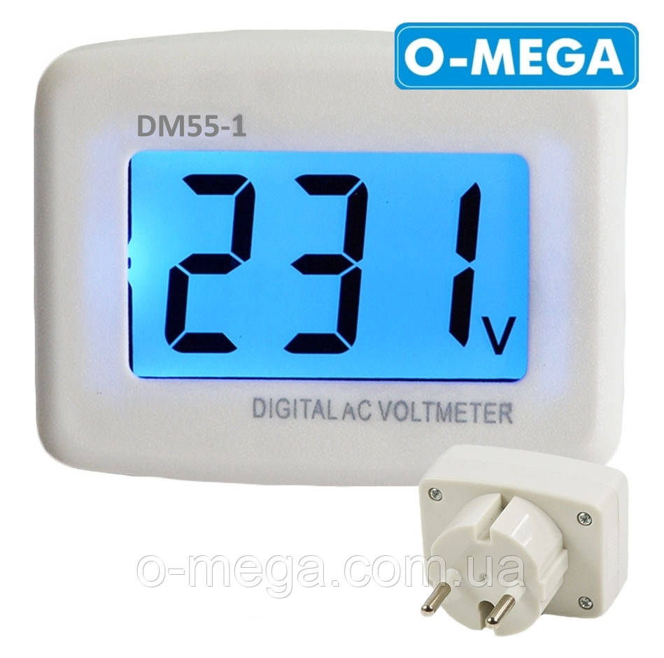 Вольтметр сетевой в розетку DM55-1, ЖК+подсветка