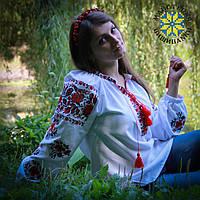 """Вишиванка жіноча на білому домотканому полотні """"Букет троянди"""", фото 1"""