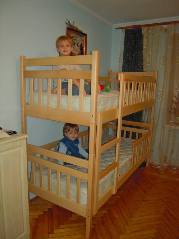 Двоярусне ліжко Том і Джері у натуральному кольорі