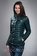 Женская демисезонная куртка К-37-12-14. Цвет темно зеленый