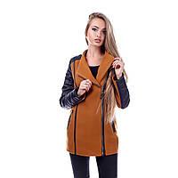 Пальто женское кашемировое с кожей Луиза