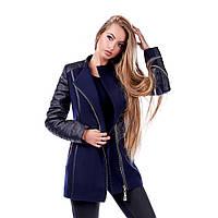 Пальто женское кашемировое с кожей