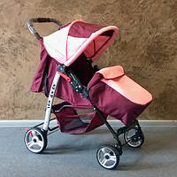 Прогулочная коляска-книжка Baby car, Trans Baby бордовый+розовый