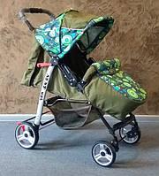 Прогулочная коляска Baby car, Trans Baby, оливка+абст.зеленая
