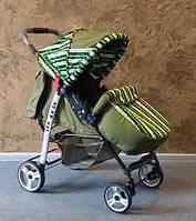 Прогулочная коляска-книжка Baby car, Trans Baby оливка+паски