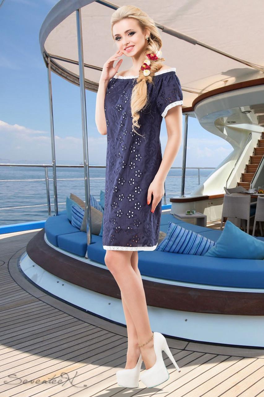 b48b7436bc7 Летнее платье прямого покроя из батиста перфорированного на вискозной  подкладке 42-52 размеры - Интернет