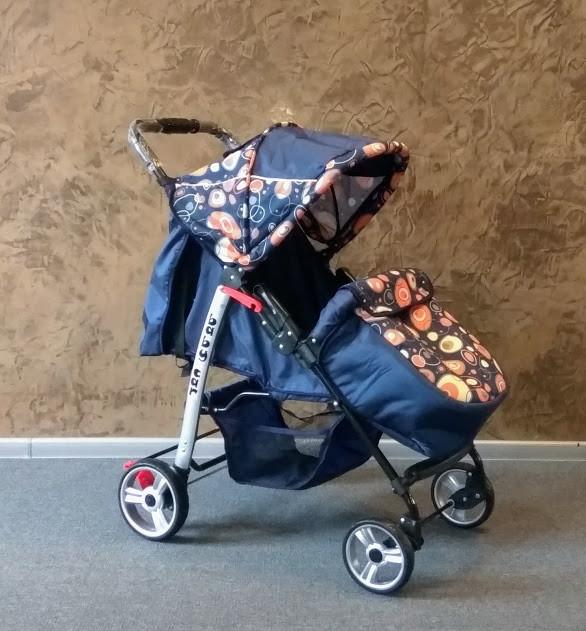 Детская прогулочная коляска Baby car, Trans Baby темно-синий+абст.синяя