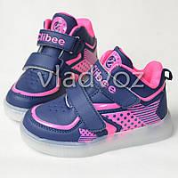 Детские светящиеся кроссовки с led подсветкой для девочки синие Clibee 31р.