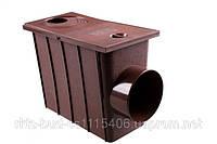 Колодец ливневой с боковым сливом  водосточной системы PROFIL 90/75;коричневый,белый;диаметр 75/101 мм