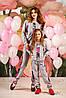 Модный детский спортивный костюм с цветочным принтом, для мамы и дочки, 116-134 размер
