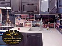 Стеклянный фартук для кухни с фотопечатью,Фартуки для кухни из стекла Киев, Стеклянный фартук