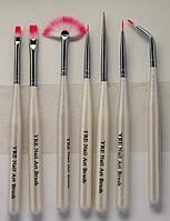 Набор кистей  для дизайна, китайской росписи, лепки  ногтей YRE Юж. Корея 7 шт