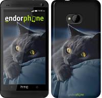 "Чехол на HTC One M7 Дымчатый кот ""825c-36-532"""