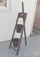 Деревянная подставка под цветы Мольберт 1/2 коричневая