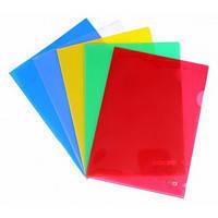 Папка-уголок А4, прозрачная, цветная