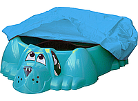 Песочница-бассейн Собачка PalPlay голубая с накрытием