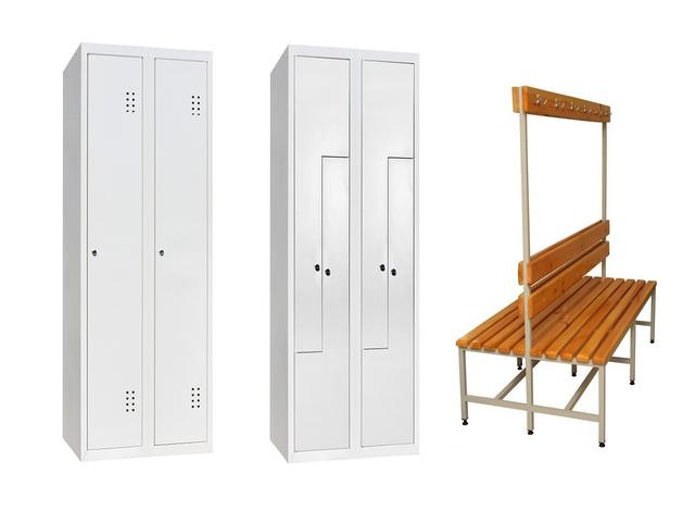 Одежные металлические шкафы, скамейки