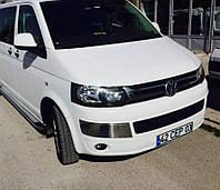 Хром накладки на передний бампер (брови) Volkswagen T5 GP 2010-2015 нержавеющая сталь 2шт.