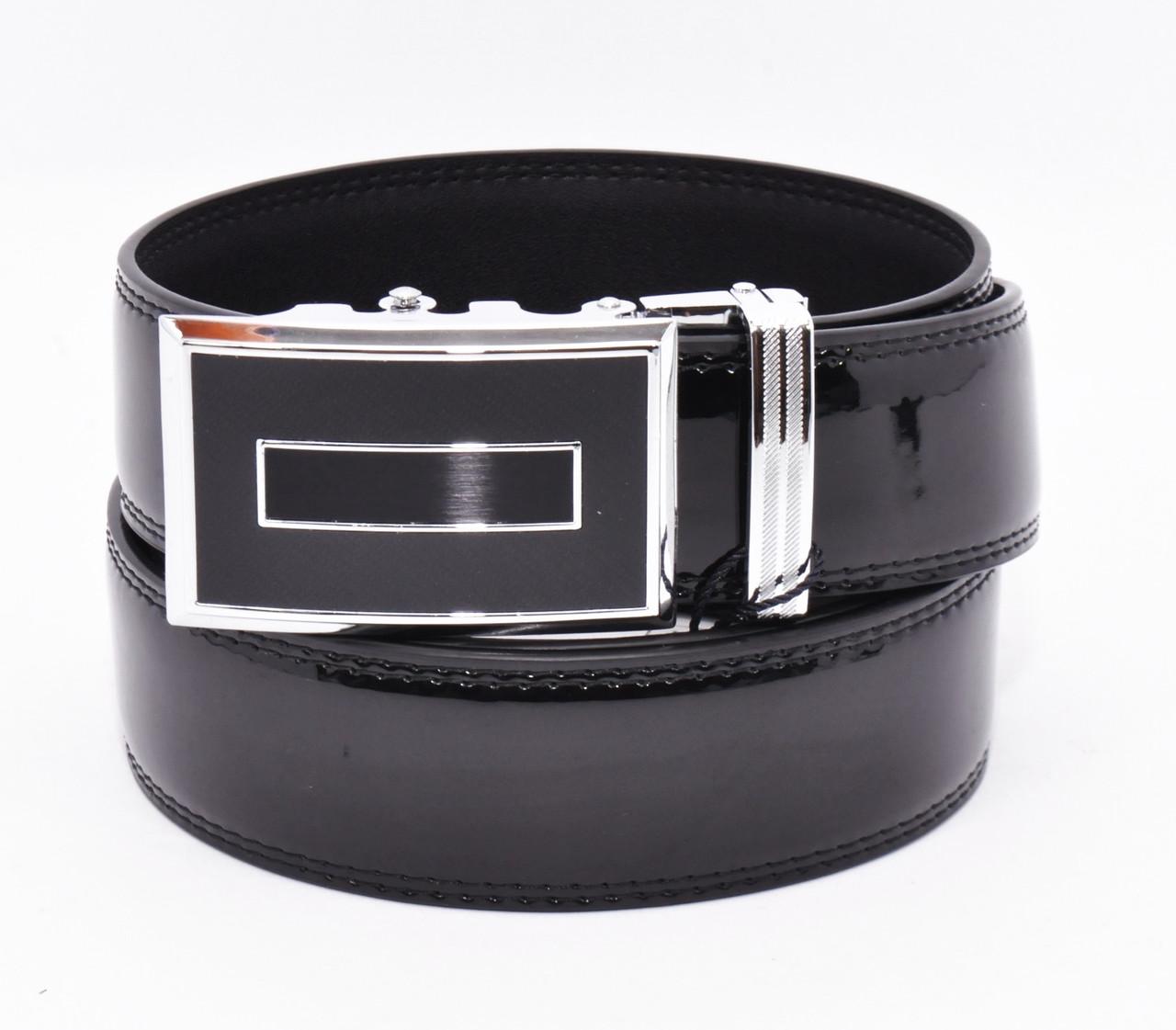 Ремень кожаный лаковый универсальный автомат черный Alon 45084