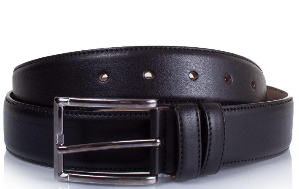 Ремень мужской черный практичный, искусственная кожа, ширина: 3,5 см.LMI LMIS11000
