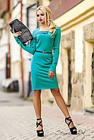 Стильное трикотажное платье осеннее с длинным рукавом, деловое, повседневное
