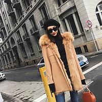 Двустороннее меховое пальто со съемными рукавами. Натуральный мех лисы. Модель 63101.