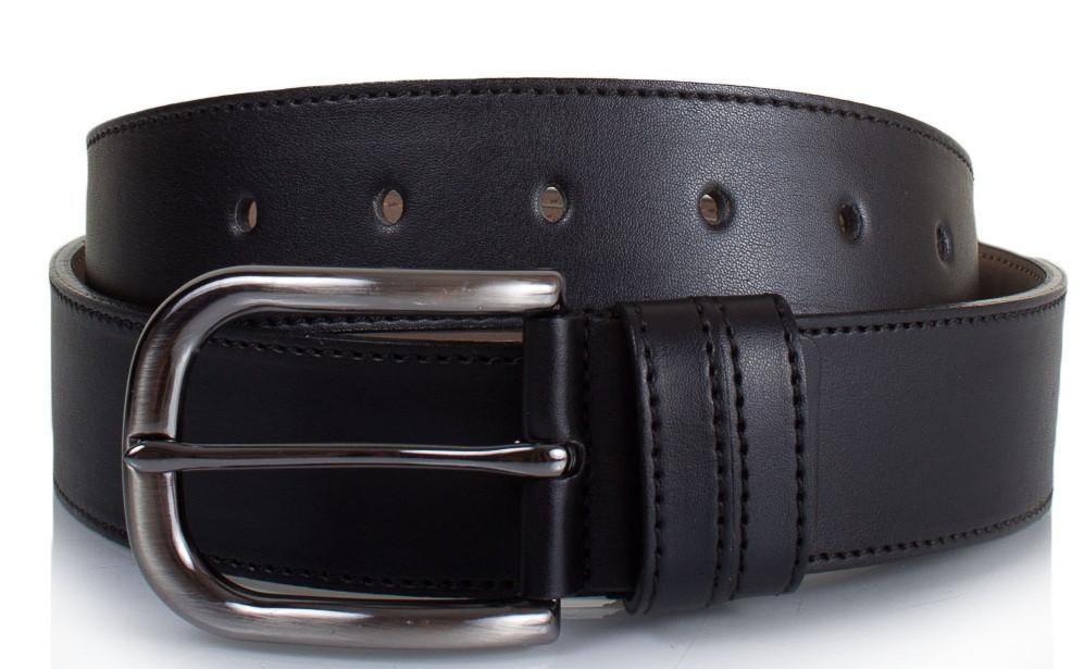 Ремень мужской черный, искусственная кожа, ширина 3,5 см. LMI  LMIS4001