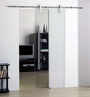 Раздвижная система для стеклянных дверей max 120 кг 2м направляющая нержавеющая сталь стиль Лофт