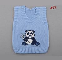 """Вязанная жилетка для мальчика """"Панда"""" Турция на 1, 2 года"""
