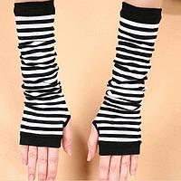 Длинные митенки женские перчатки без пальцев в полоску