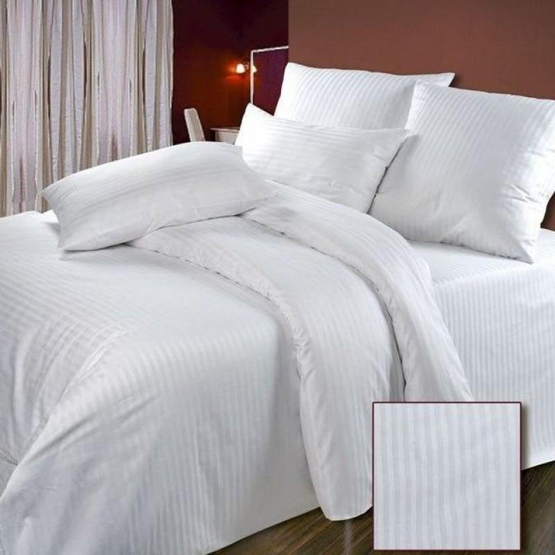Постельное белье Страйп-сатин 1х1 см белый ТМ Царский дом  (Двуспальный)