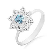 Серебряное кольцо с голубым топазом 0.25 карат