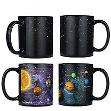 Кружка-чашка хамелеон с терморисунком Планеты