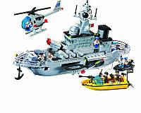 Конструктор BRICK 821 военный корабль, фигурки 9шт, 843 дет, в кор-ке, 54-37-7см
