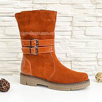 Ботинки замшевые рыжие женские зимние на утолщенной подошве. 37 размер