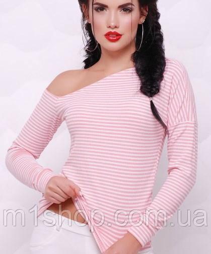 Полосатая женская кофта с открытым плечем (Natalie fup) персиковый