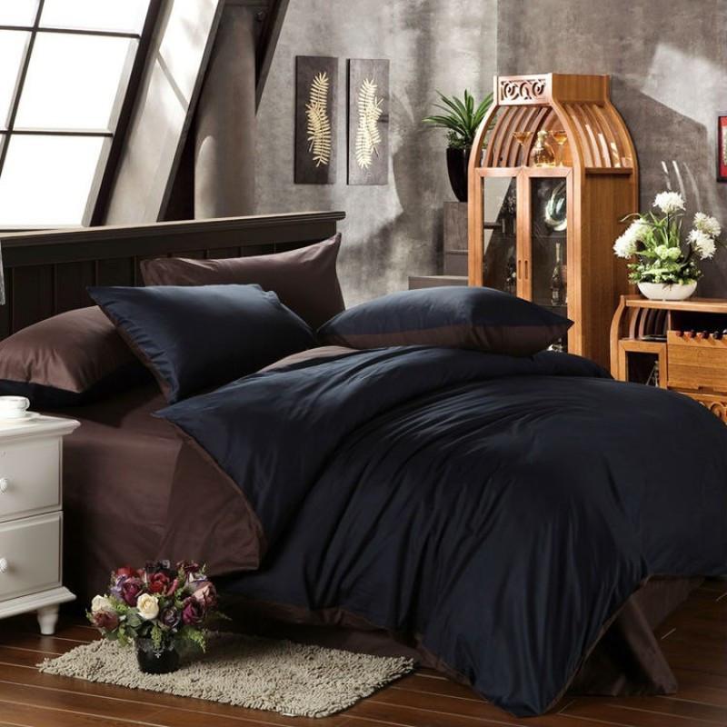 Постельное белье Сатин BLACK + DARK CHOCOLATE ТМ Царский дом  (Евро)